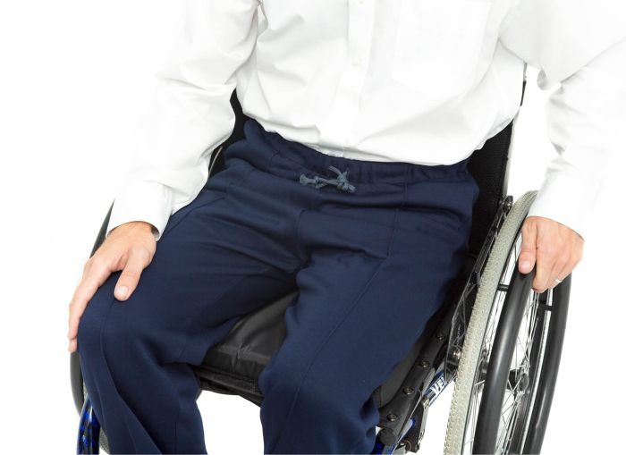 Elasticated Waist Wheelchair Jersey Trousers in wheelchair