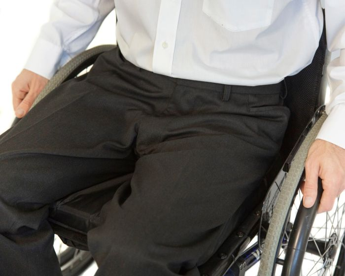 Tailored smart wheelchair trousers in chair