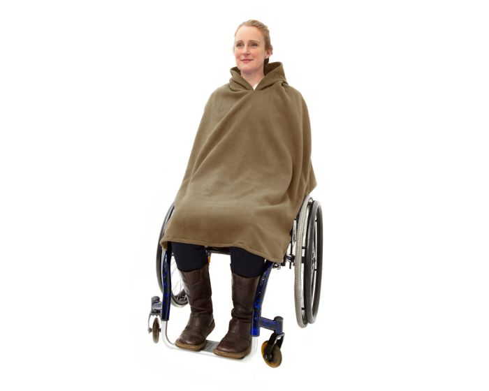 Women's Fleece Hooded Wheelchair Poncho