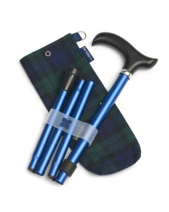 Navy Adjustable Folding Walking Stick with Tartan Storage bag